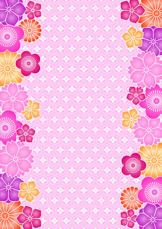 nengajo: Background pattern of flowers and traditional Japanese pattern
