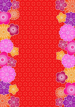 Achtergrond patroon van bloemen en traditionele Japanse patroon