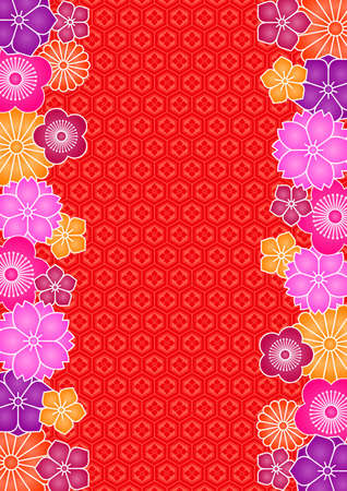 japanese pattern illustration: Background pattern of flowers and traditional Japanese pattern