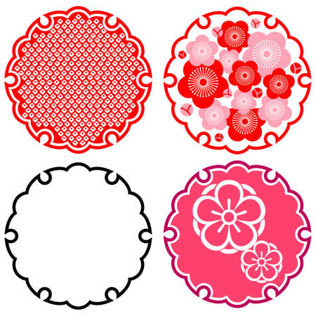 japanese motif: Japanese motif of plum and snow