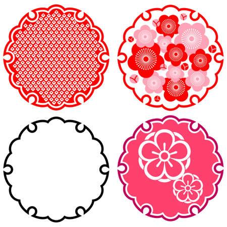 Motif japonais de prune et de la neige