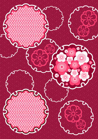 Japanese background pattern of plum and snow