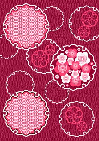 Japanse achtergrond patroon van pruim en sneeuw