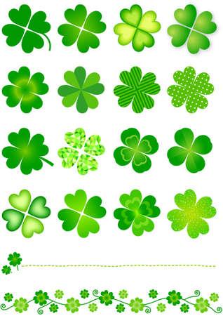 four leaved: four leaf clover Illustration