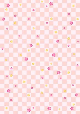 日本の桜と市松模様の背景パターン  イラスト・ベクター素材