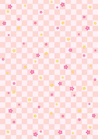 Background pattern of Japanese cherry blossoms and checkered pattern Vector