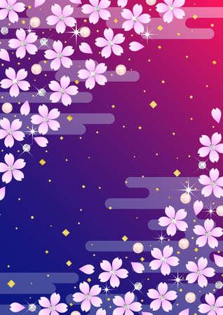 japanese motif: Background pattern of Japanese cherry blossoms and diamond Illustration