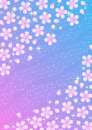 Background pattern of Japanese cherry blossoms and diamond Illustration