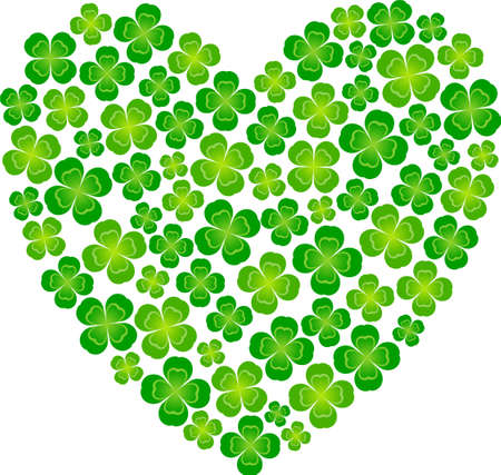 Heart-shaped made of four leaf clover Vector