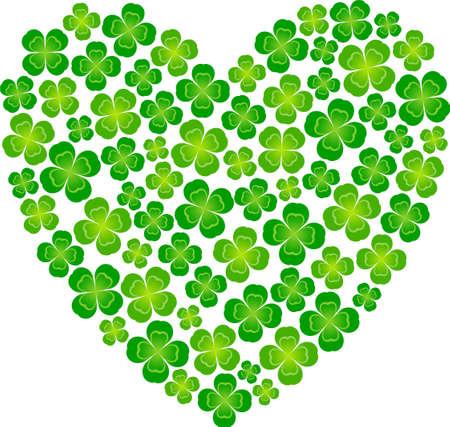 four leaf: Heart-shaped made of four leaf clover Illustration