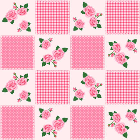 Patchwork pattern_Floral design of roses Vector