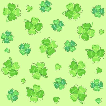 four leaved: Background pattern of four leaf clover Illustration