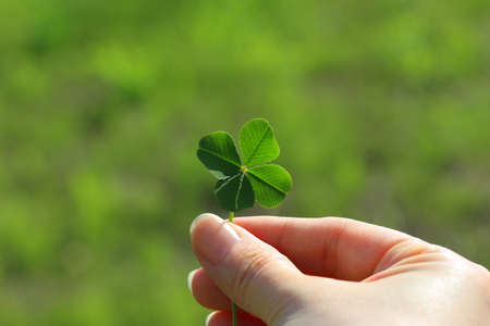 Holding a four leaf clover