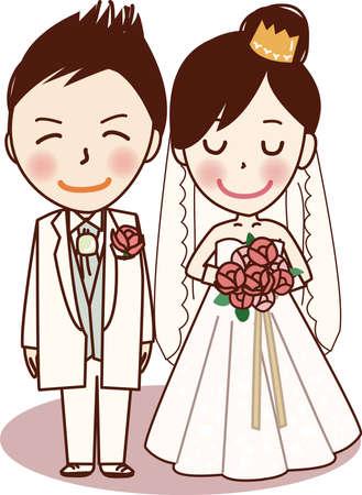 Happy bride and groom. Vektoros illusztráció