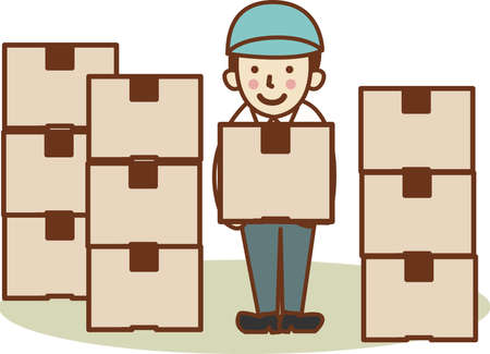 A man with the power to lift cardboard. Vector Illustration