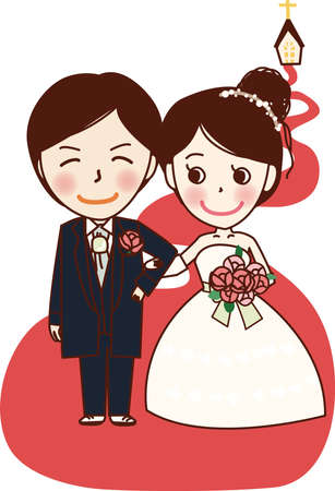 Bride and groom Vektoros illusztráció