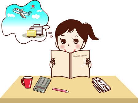 A woman who has a dream while keeping a household account book. 矢量图片