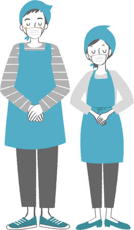 Men and women wearing masks and aprons and matching their hands in front of them.