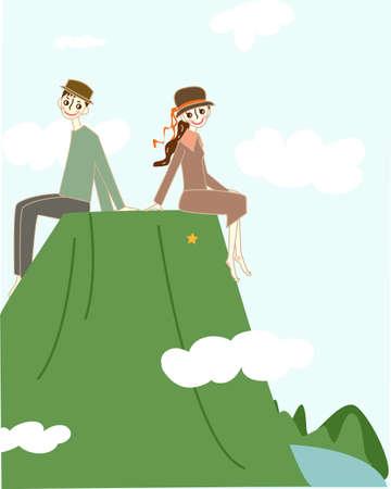 Couple sitting on the mountain. Vektoros illusztráció