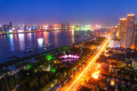 Night scenery along the Yangtze River in Wuhan Фото со стока