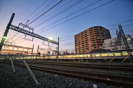 The evening scenery along the railway line near the Tokyo Railway Museum