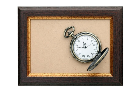 Pocket watch and Wood frame photo