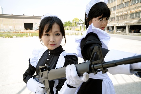 Osaka, Japan - May 10th, 2009 - Japanese women who participated in costume play rally of the outdoors.