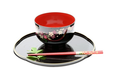 Traditional tableware of Japan, chopsticks and bowl photo