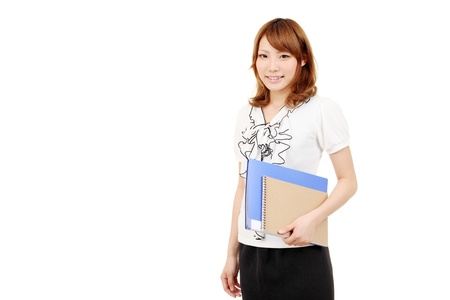 Young japanese businesswoman holding file document photo