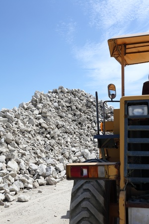 Piles of gravel at industrial site photo