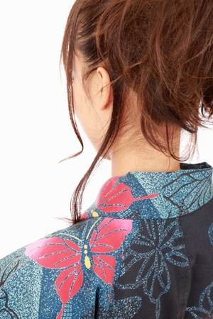 Japanese woman in traditional clothes of Kimono, portrait of back view Stock Photo - 10202124