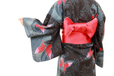 Japanese woman in traditional clothes of Kimono, portrait of back view photo