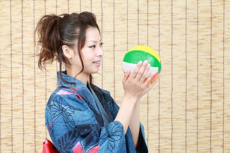 Japanese woman in traditional clothes of Kimono with paper balloon photo