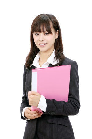 Young asian business woman holding a file document photo