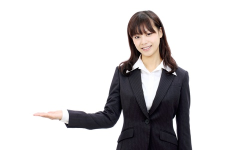 Young japanese business woman hand showing blank sign photo