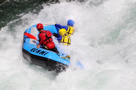 Tokusima, Japan - July 20: Action at river rafting competition game on Yosino river. July 20, 2008 in Tokusima, Japan.