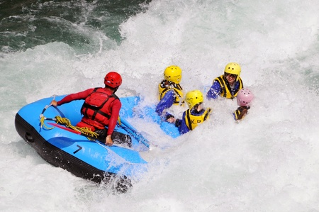 whitewater: Tokusima, Japan - July 20: Action at river rafting competition game on Yosino river. July 20, 2008 in Tokusima, Japan.