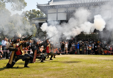 reproducing: Ehime, Japan - April 6: The festival reproducing how to fight ancient times at Kawanoe castle. April 6, 2008 in Ehime, Japan.