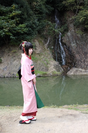 Kagawa, Japan - Nov 27th, 2011 - Participant at cosplay event at japanese riturin garden park, Anime fan dressed.
