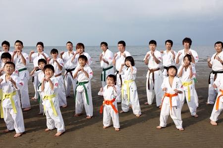 Ehime, Japan - 3 januari: Japanse krijgskunst huizen training van karate in het nieuwe jaar op de Ichinomiya strand. 03 januari 2012 in Ehime, Japan.