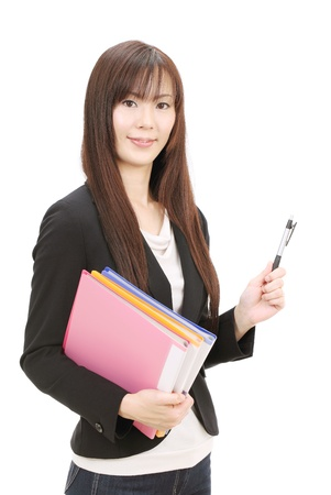 Young asian businesswoman holding a file document photo