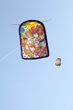 paper kite: Japanese traditional paper kite and blue sky Stock Photo