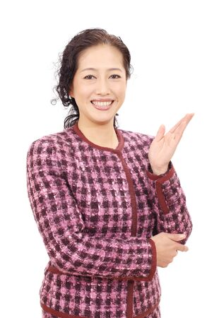 Asian business woman hand showing blank sign photo
