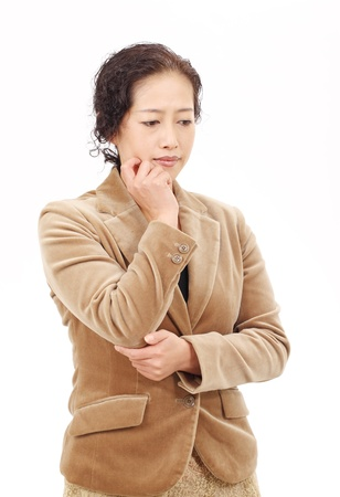 Portrait of asian business woman thinking photo