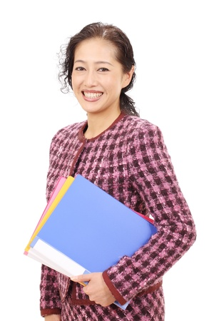 Asian business woman holding a file document photo
