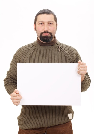 holding paper: Man holding a blank billboard