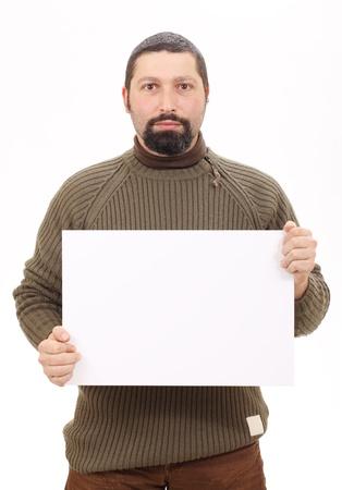 blank billboard: Mann h�lt eine leere Plakatwand