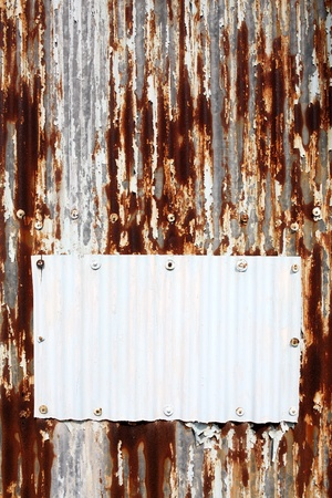 damaged roof: Rusty corrugated iron metal Stock Photo