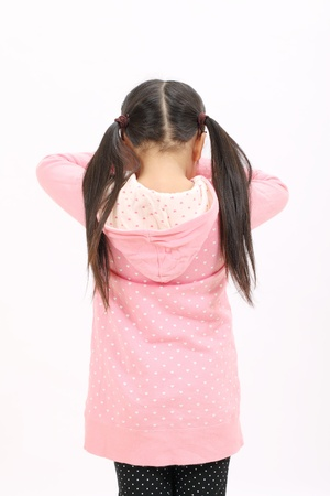 Crying standing little girl, back view photo
