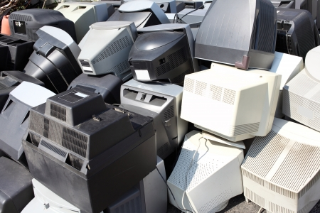 scrap heap: Piles of computer monitors for recycling